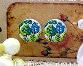 Buy 1 Get 1 Free - 20pcs 15mm (WC95) Round Handmade Photo Wood Cut Cabochon (Back White)