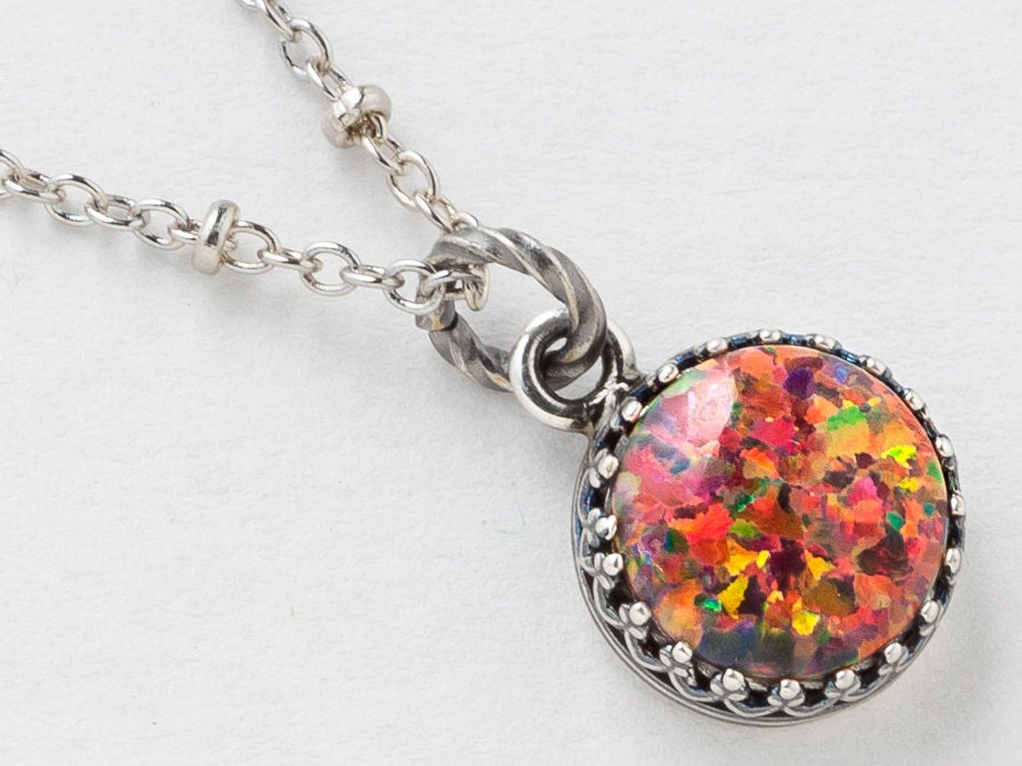 Silver Opal Necklace Fire Opal Pendant Mexican Opal Necklace