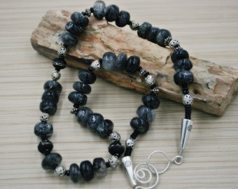Black Tourmalated Quartz Gemstone Necklace with Silver accents and Black Onyx