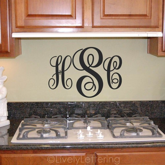 Monogram Wall Decal, Initial Decal, Monogram Letters, Monogram Sticker, Vinyl Lettering, Wall Decor, Wall Art (W00930)