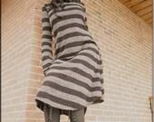 Dress - Steampunk - Burning Man - Stripes - Bohemian Gypsy - Playa Wear - Boheme - Long Tunic Dress - Goth - Sexy - Size X- Small