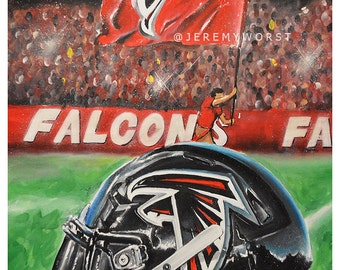 JEREMY WORST Atlanta Falcons Rise up Helmet Artwork Signed Print poster