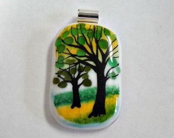 Hand painted  tree pendant necklace