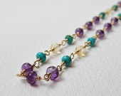 Amethyst, Turquoise and Citrine Necklace - Gold Filled beadwork Necklace Rosary Necklace Beaded necklace Rosary Chain