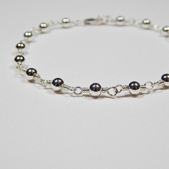 Sterling Silver Beaded Bracelet - Rosary Bracelet Wire Wrapped Link Bracelet Beadwork Bracelet