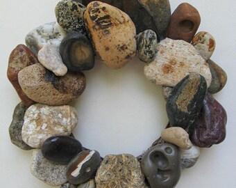 Earth Tone Rock Wreath or Candle Ring – RW338
