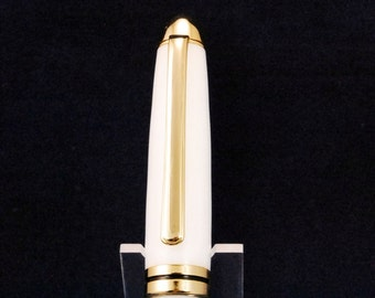 Ballpoint Twist Pen Handmade White Acrylic, 24k Gold Trim, Dome Top Style, Handcrafted By ASH Woodshops, Perfect Gift