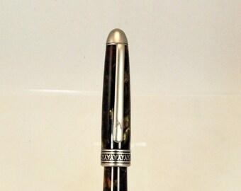 Ballpoint Twist Pen, Green Pearl Acrylic, Rhodium Trim, Dome Top Style, by ASHWoodshops