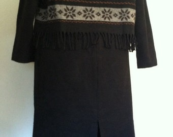 FREE SHIPPING 1980s Vintage Southwestern Black Fringed Top and Skirt by Cynthia Howe for Maggie Boutique