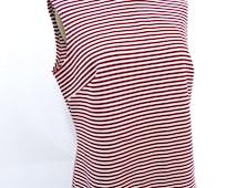 Vintage 1970s  Sleeveless Top..Mock Turtleneck ... Red and White Striped Sleeveless Blouse...Size Medium to Large