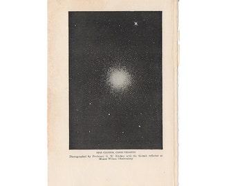 1925 STAR CLUSTER print original vintage astronomy celestial lithograph - canes venatici
