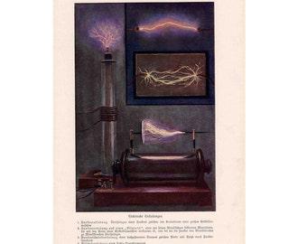 1900 ELECTRICITY print original antique science lithograph