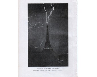 1913 LIGHTNING at the EIFFEL TOWER print original antique weather storm lithograph - paris france