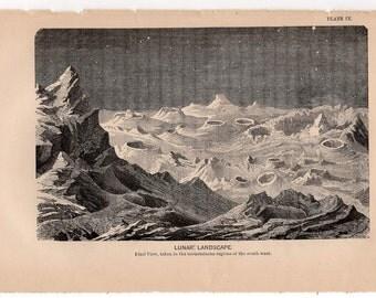 1872 LUNAR LANDSCAPE print original antique celestial astronomy lithograph