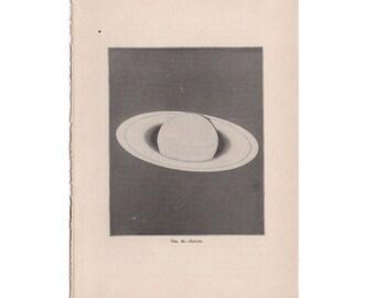 1903 ANTIQUE PLANET SATURN print original antique celestial astronomy lithograph