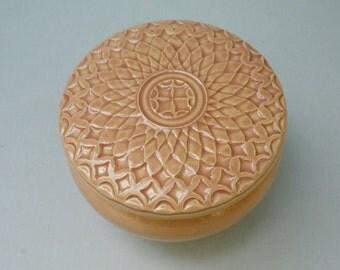 Pink Lidded Jar Hand Carved Jewelry  Box One or a Kind Diamond Design