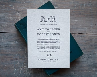 Haworth Literary Letterpress Wedding Invitations - Sample