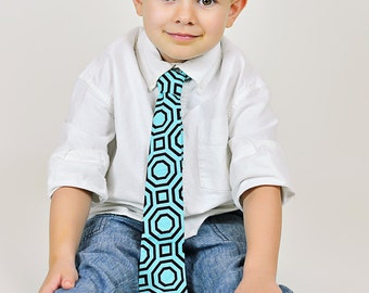 Little and Big Guy NECKTIE Tie - Aqua and Brown Geometric - (Newborn-Adult)