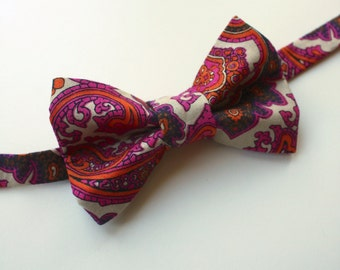 Little and Big Guy Bow Tie Bowtie - Jewel Tone Paisley - (Newborn-Adult) - (Made to Order) Fall Holiday - Pink Orange Tan