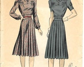 DU BARRY 5119 Size 14 Bust 32 Misses' Dress Gathered Two-Piece Yoke Blouse Collar Pleated Skirt Vintage 1940's Pattern