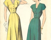 ADVANCE 5027 Size 18 Bust 36 Button Front Belted Dress Vintage 1940's Pattern