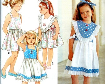 6c61844d57f3e2 1990 s Simplicity 7849   Girl s Dress with Detachable Collar and Headband Size  5-6X Girl s