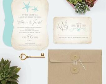 Elope Announcement Beach Reception Invitations Post Wedding Invitation DIY Destination Invite