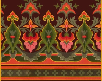 antique art nouveau wallpaper illustration digital download