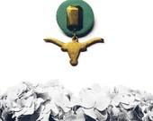 Longhorn Merit Badge, Longhorn brooch, Texas Longhorn pin, Animal jewelry, vegan jewelry, vegan brooch - AQUA