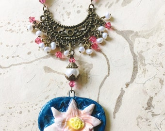 Lotus Necklace Goddess Lakshmi Fairytale by MinouBazaar