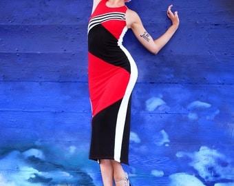 1980s Red White Black and Blue Striped Optical Illusion Geometric Colorblock Bodycon Sporty Dress - S M