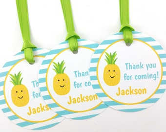 Pineapple Party Favor Tags, Pineapple Favor Tags, Pineapple Party Decorations - SET OF 12