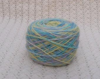 alpaca rowing rainbow yarn hand-dyed, 98 gr, lilac yellow green blue, self striped yarn by  lafiabarussa