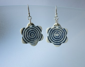 Porcelain flower earrings with Breton blue circle pattern