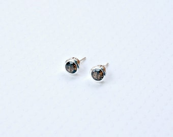 Smoky topaz stud earrings, sterling silver studs, brown gemstone earrings, gift for her, simple, classic jewelry, littleglamour - Molly