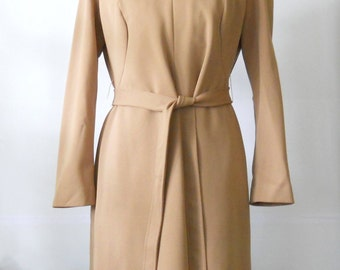 Vintage Paul of California Dress • 1970's Modern A Line Office Dress • Brown Polyester Dress