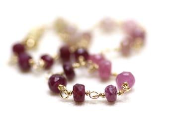 Ruby Gradient Wire Wrapped Bracelet in Gold Filled | Minimal, Natural Precious Stone Jewelry | Fine Artisan Jewelry Handmade by Azki