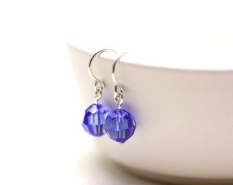 Minimalist Swarovski Crystal Earrings in Velvety Tanzanite Blue with Sterling Silver | Simple, Comfortable, Everyday Jewelry | Drops by Azki