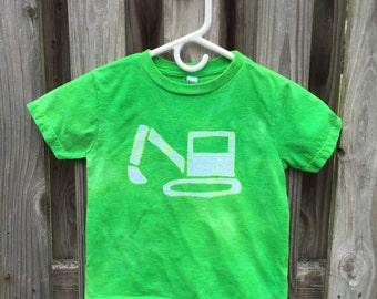 Kids Excavator Shirt (5/6), Kids Truck Shirt, Kids Digger Shirt, Green Truck Shirt, Boys Truck Shirt, Girls Truck Shirt, Construction Truck