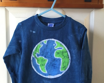 Kids Earth Day Shirt, Blue Earth Kids Shirt, Toddler Earth Day Shirt, Boys Earth Shirt, Girls Earth Shirt, Batik Earth Day Shirt (2T) SALE