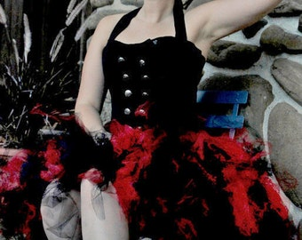 Red and Black Tutu - Adult Tutu - Women's One Size - Gothic Lolita - Burlesque