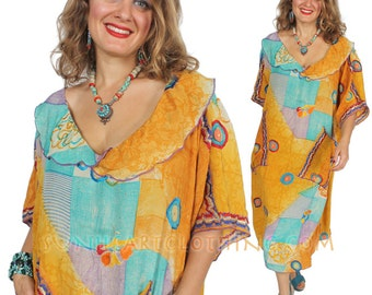 SUNHEART VINTAGE SILK Dress Embroidered PocketY bohemian Hippie Chic  ooak Sml-Med-Large-Xl-1x- 2x plus