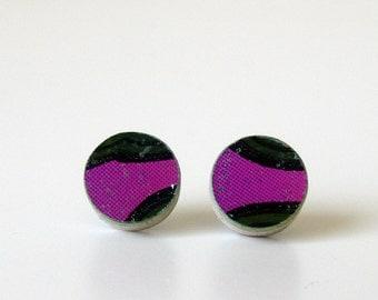Purple and Green Recycled Skateboard stud earrings