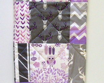 Girl Quilt Baby-Modern Woodland Crib Baby Bedding-Deer-Buck-Antler-Arrows-Lilac-Lavender-Purple Baby Blanket