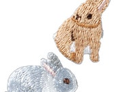 Cute Rabbit, Bunny Embroidered Iron On Patch, Japanese Iron on Applique, Made in Japan, Kawaii Animal Motif, Embroidery Applique, W046