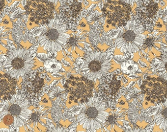 Swim Dunclare, Liberty Tana Lawn Fabric, Liberty of London, Liberty Japan, Cotton Print Scrap, Beige Brown Floral, Quilt, Patchwork, kt2151y