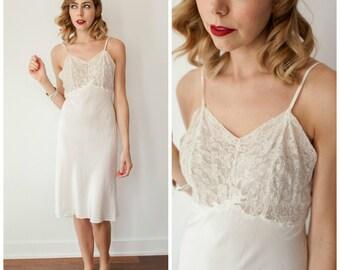 Vintage 1940's / 1950's White Slip/ Lace and Rayon/Acetate Slip/ Vintage Lingerie