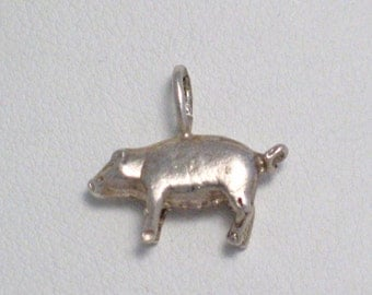 3-D sterling silver swine sow pig farm bacon animal theme bracelet charm or necklace pendant