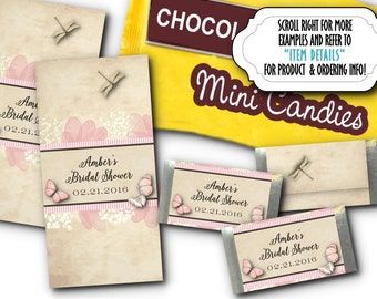 36 Mini Candy Bar Wrappers, Candy Favors, Pink Butterflies & Flowers, Wedding, Bridal or Baby Shower, Birthday, Pink and Tan