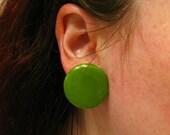 Olive Green Earrings, Green Clip On Earrings, Autumn Jewelry, Round Earrings, Green Plastic Earrings, Bakelite Earrings, Green Disc Earrings